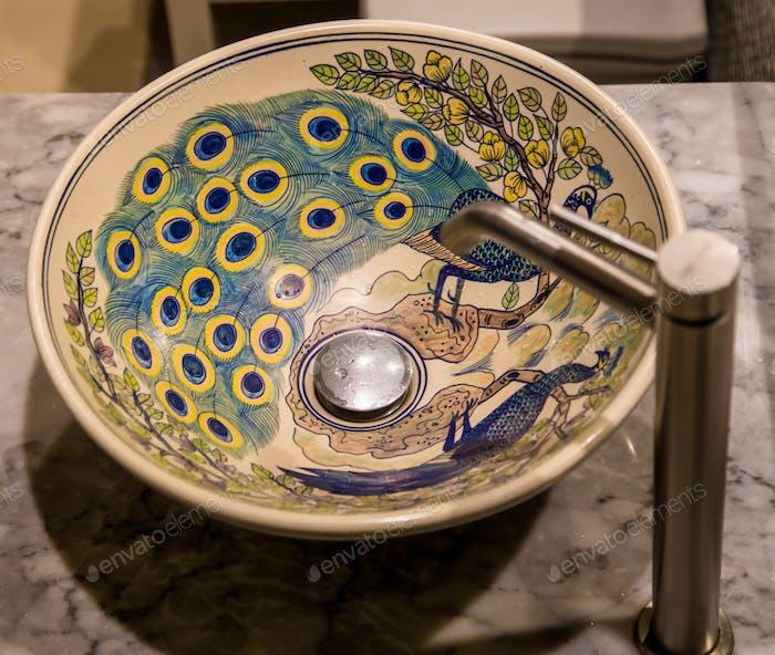 Stylish sink in the bathroom