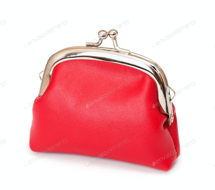 Red purse on white