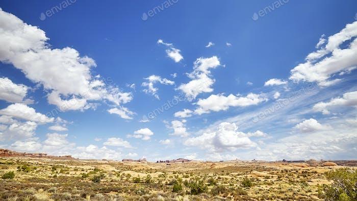 Vast deserted landscape with beautiful cloudscape.