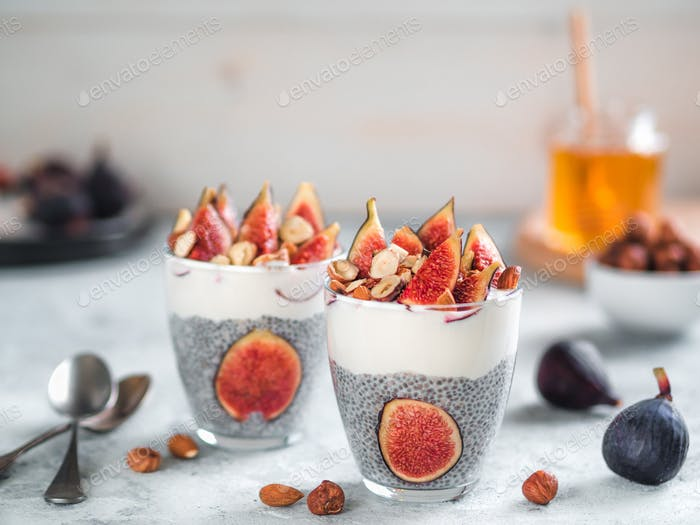 chia pudding with yogurt, figs, nuts