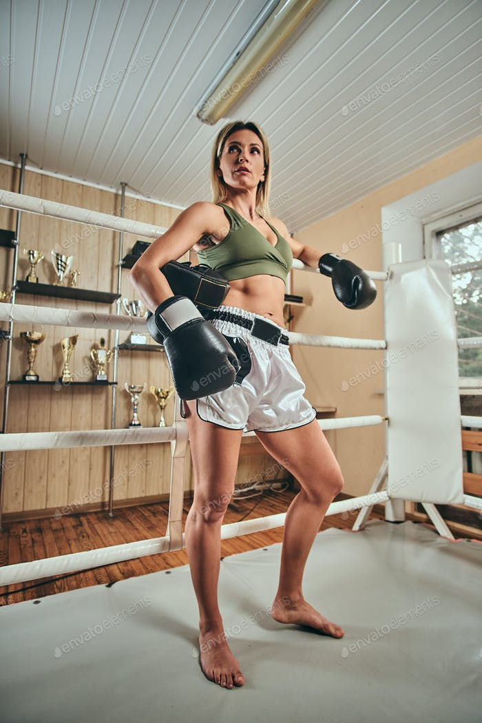 Female boxer is ready to fight