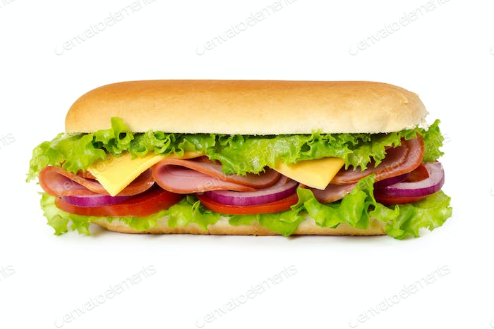 Sandwich with ham, tomato, cheese, onion and lettuce