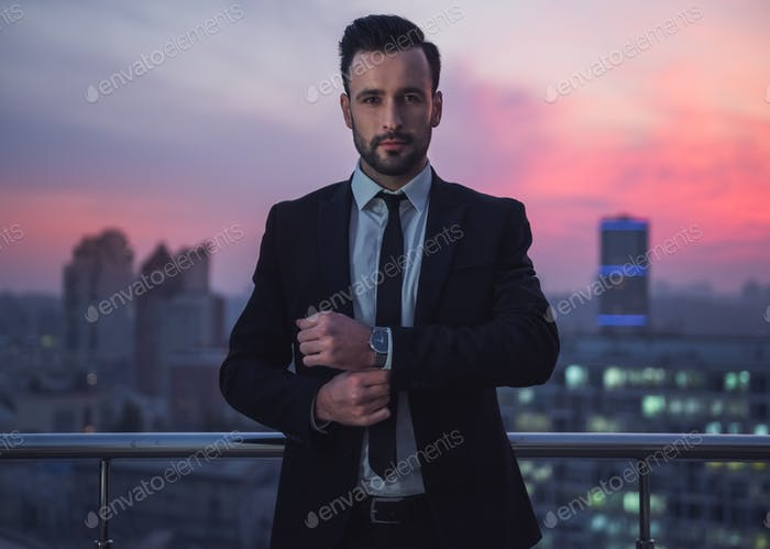 Handsome businessman in the evening