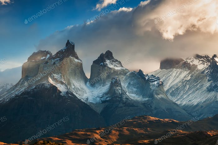 Dramatic dawn in Torres del Paine, Chile