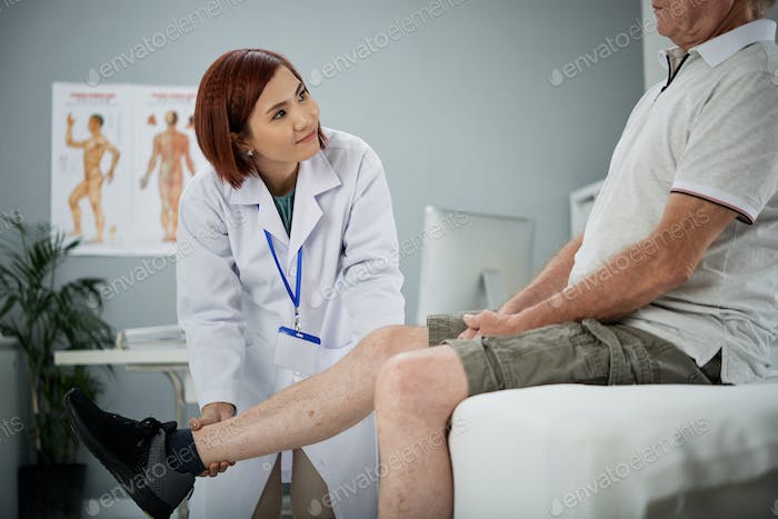 Working with senior patient