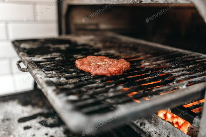 meat on grill oven, burger cooking