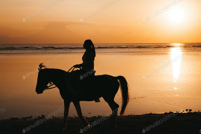 Silhouette of young woman riding on a horseback
