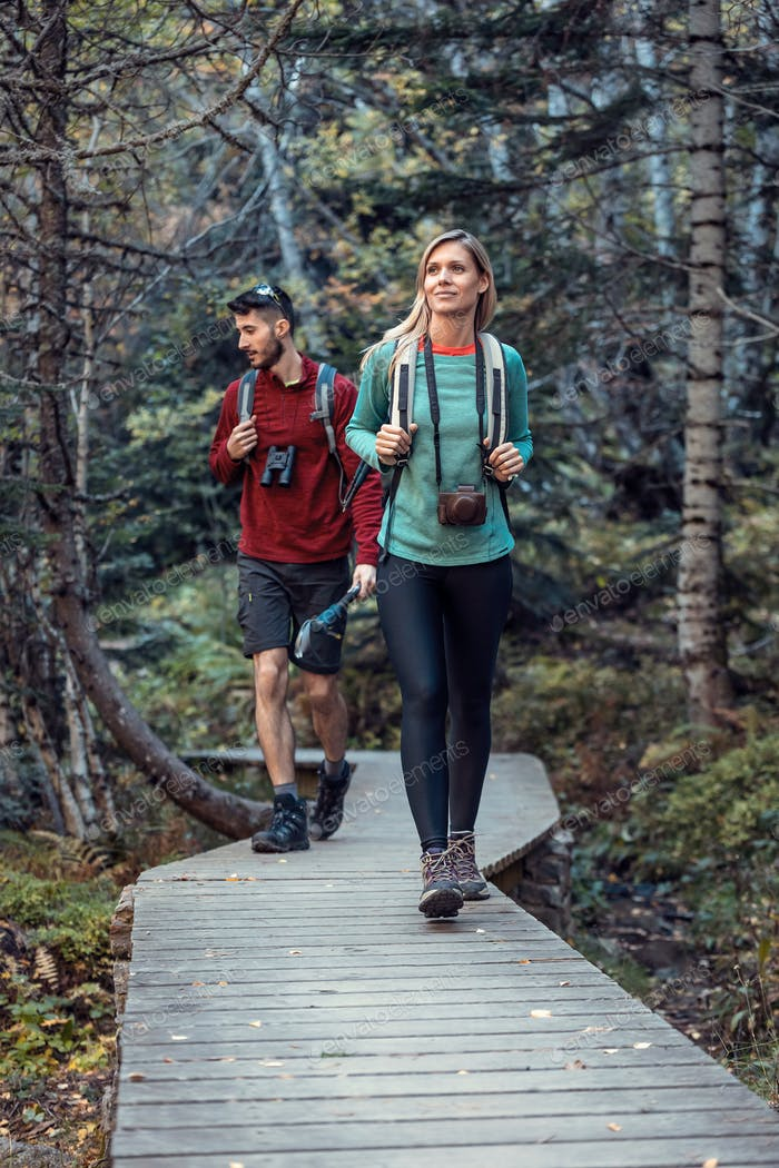 Two travel hikers with backpack walking while looking the landscape in the forest.