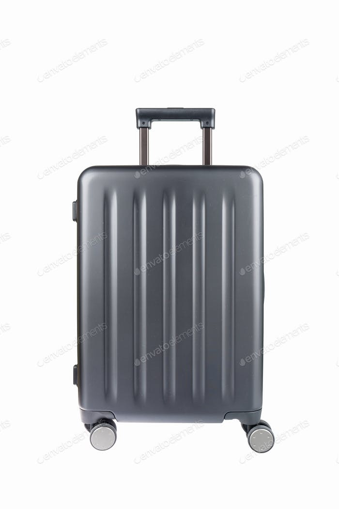 grey travel luggage isolated