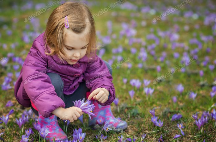 Girl with crocuses