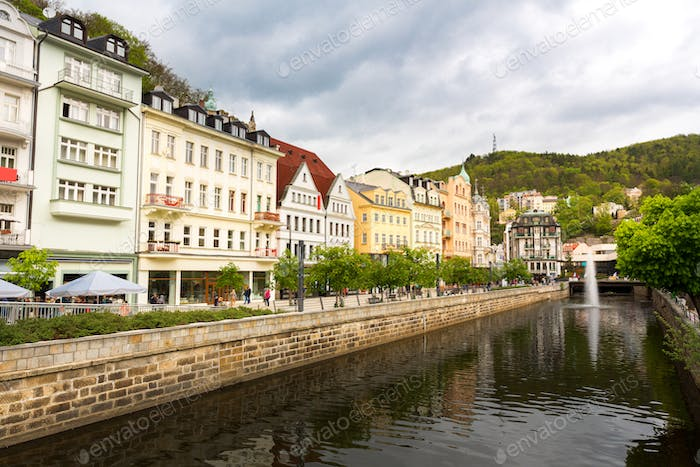 City river and outdoor cafes, Karlovy Vary