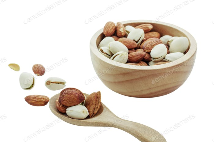 Many almonds with white background
