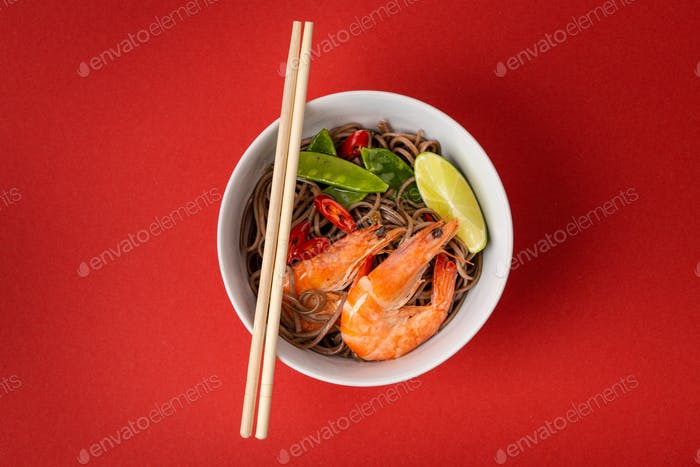 Asian noodles with shrimps