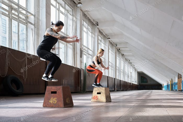 Girls having full-body training