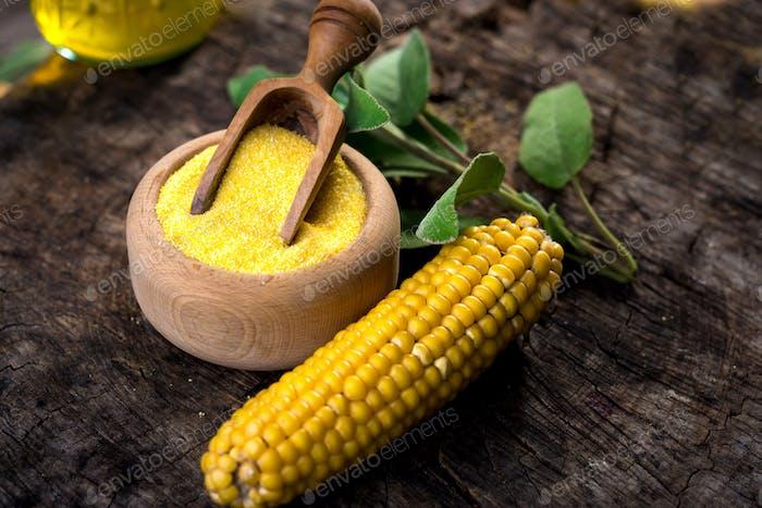 Corn meal or dry polenta on vintage table