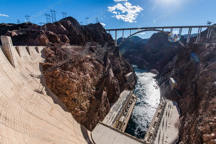 Panoramic picture of Hoover Dam and Mike O'Callaghan - Pat Tillman Memorial Bridge connecting