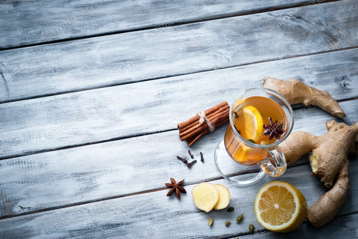 Hot ginger tea with spices