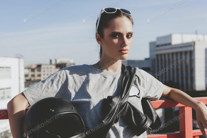 Young female biker