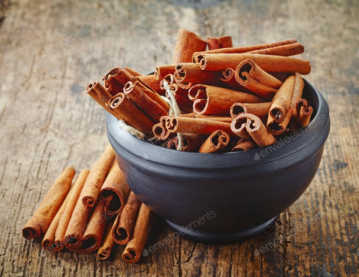 bowl of cinnamon sticks