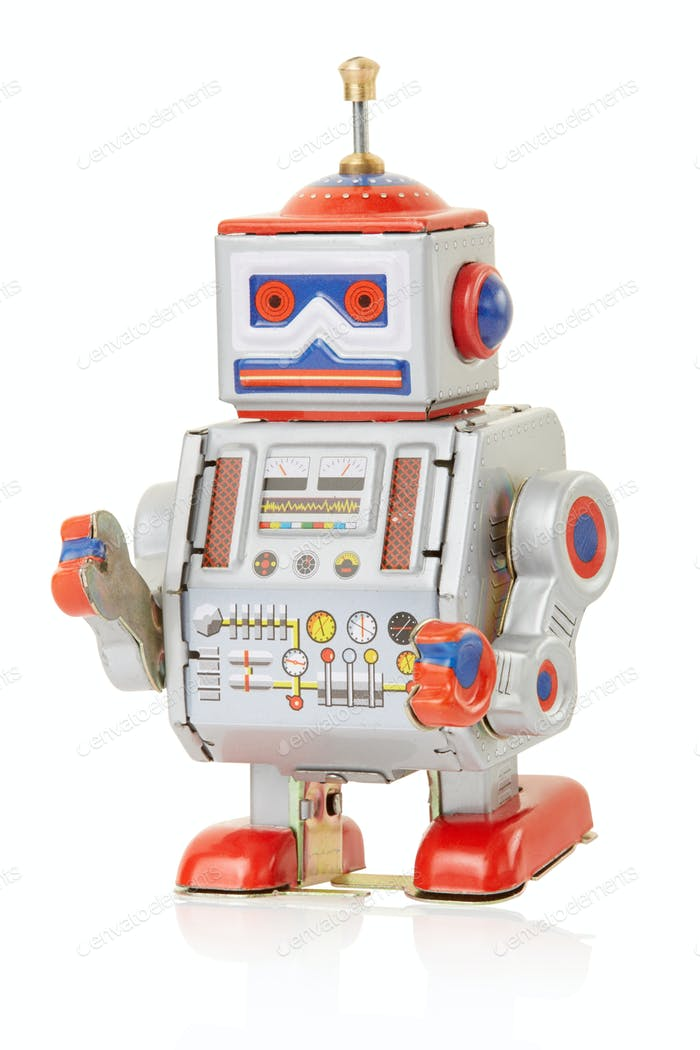 Robot vintage toy isolated on white