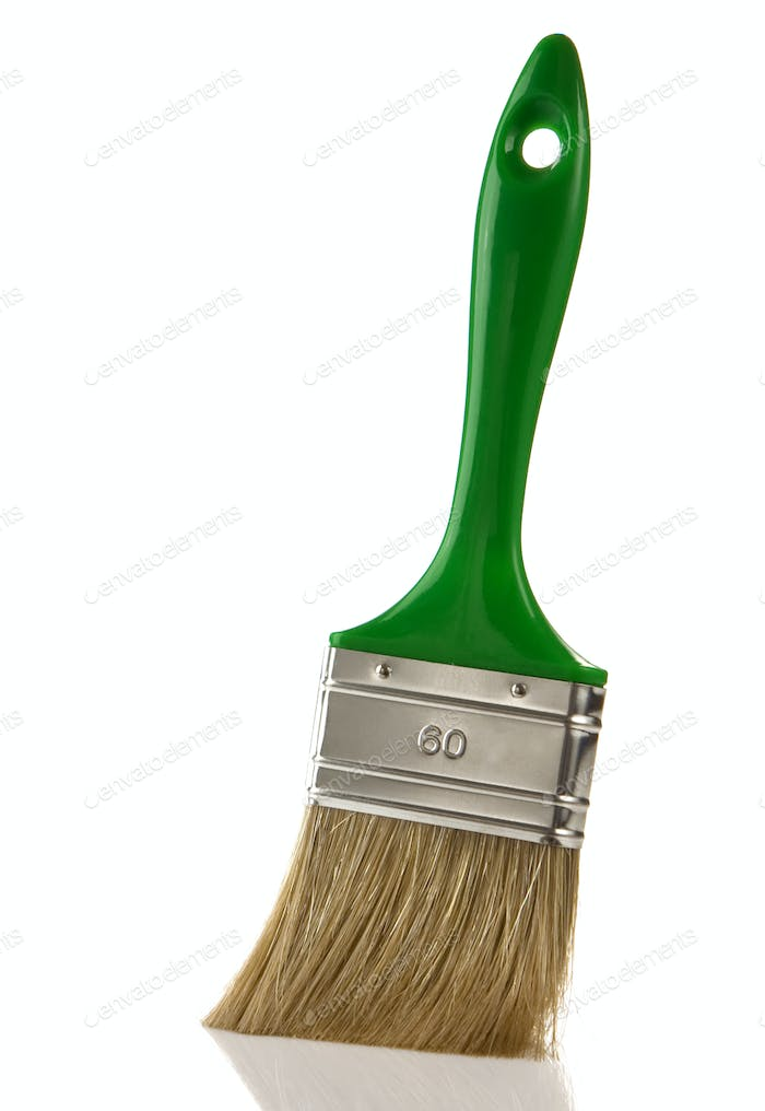 green paintbrush isolated on white