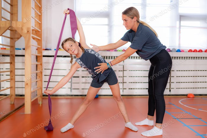 Lateral flexion, resistance band exercise for children, improving motor skills and coordination