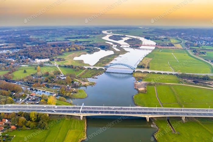Lowland river IJssel with bridges
