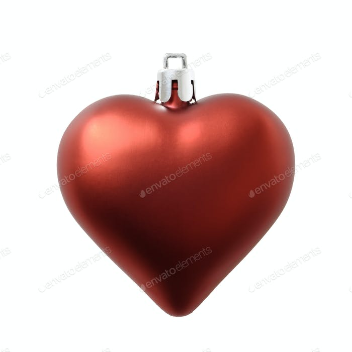 Christmas heart shaped matte finish red decoration isolated on white.