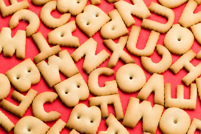 Word biscuit over red background