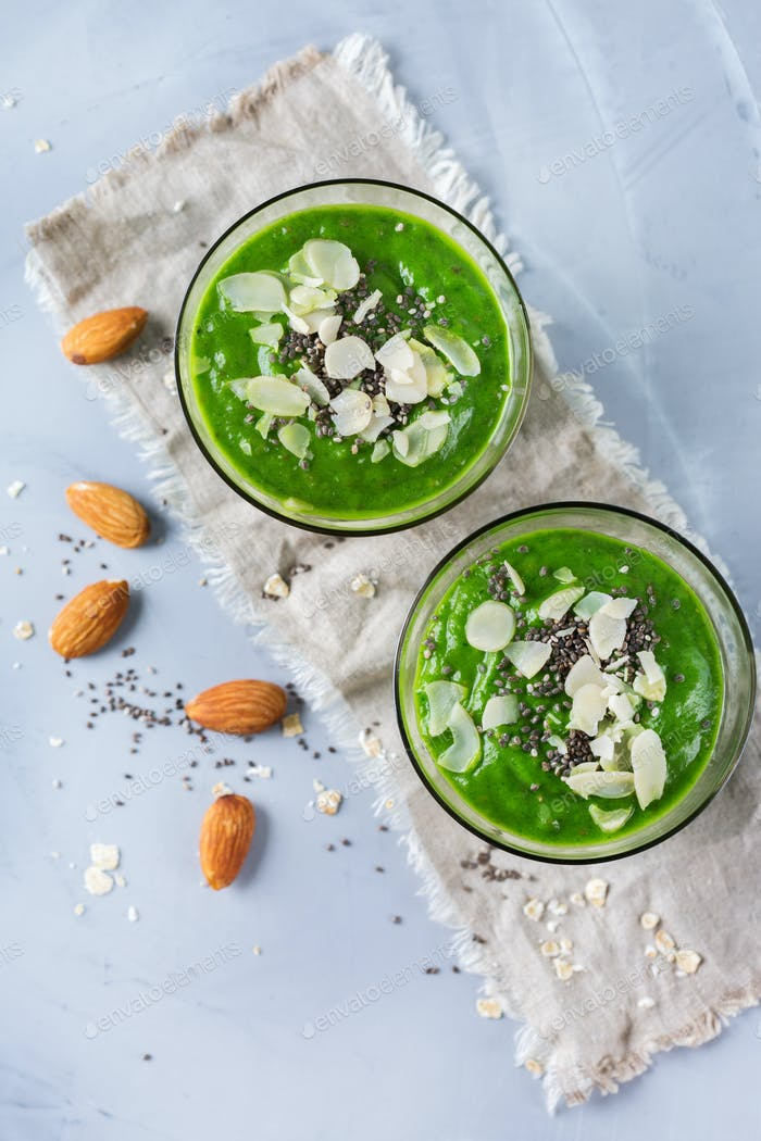 Green smoothie with kale apple broccoli lime and spinach