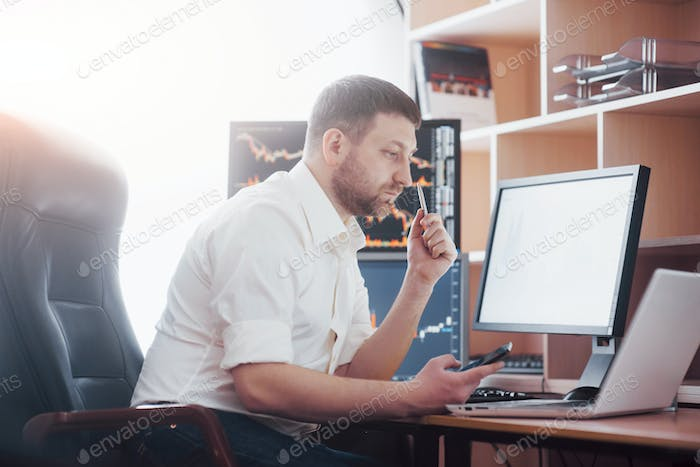 Business man investment trading do this deal on a stock exchange. People working in the office