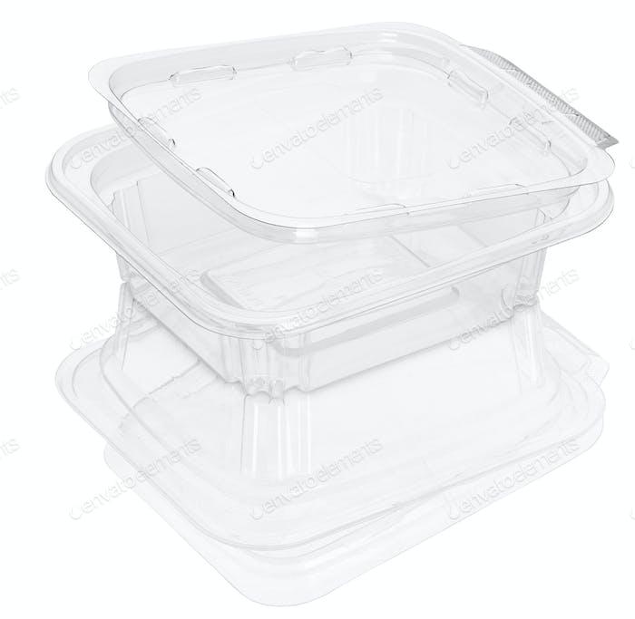 Leere transparente Kunststoff-Lebensmittelbehälter isoliert auf weiß mit Clipping-Pfaden