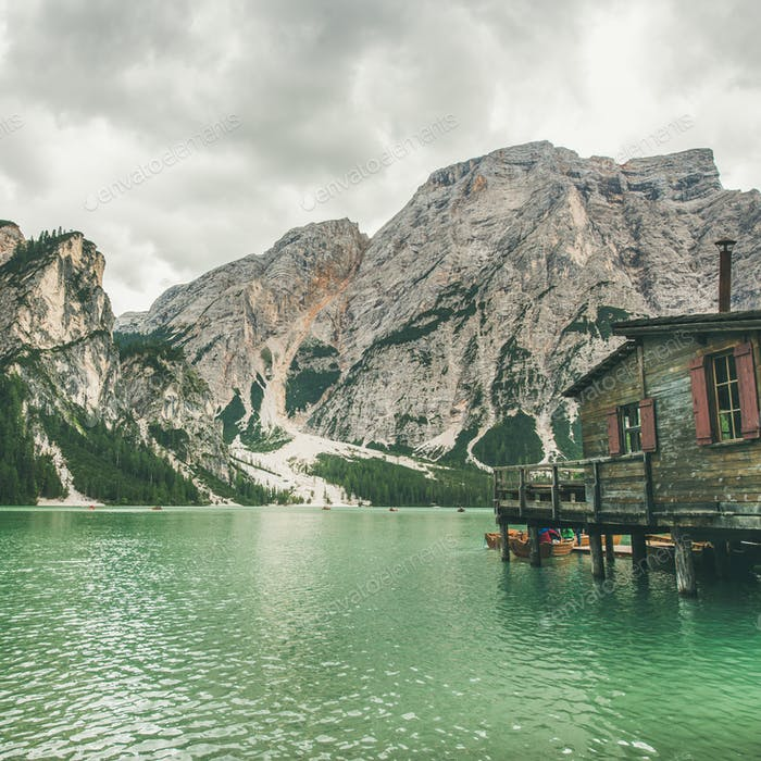 Lago di Braies in Fanes-Sennes-Braies Nature Park, Italy. Square crop