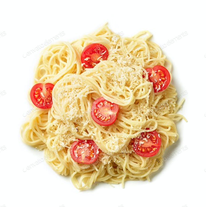 pasta spaghetti with cheese and tomatoes