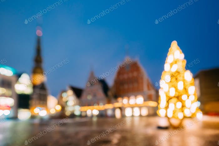 Riga, Latvia. New Year Boke Lights Xmas Christmas Tree Decoratio