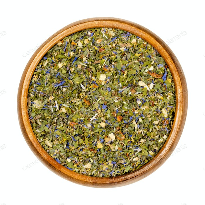 Tabouleh spice mix in wooden bowl, also known as tabouli or taboulah