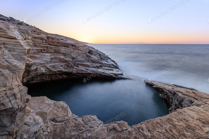 Giola, natural sea water pool located on Thassos island