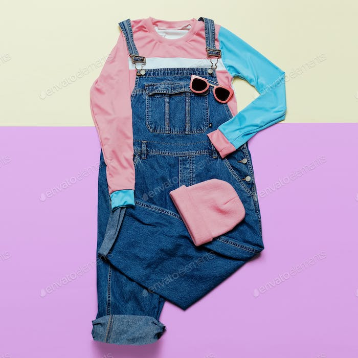 Fashionable denim overalls and accessories. Stylish clothes. Gla
