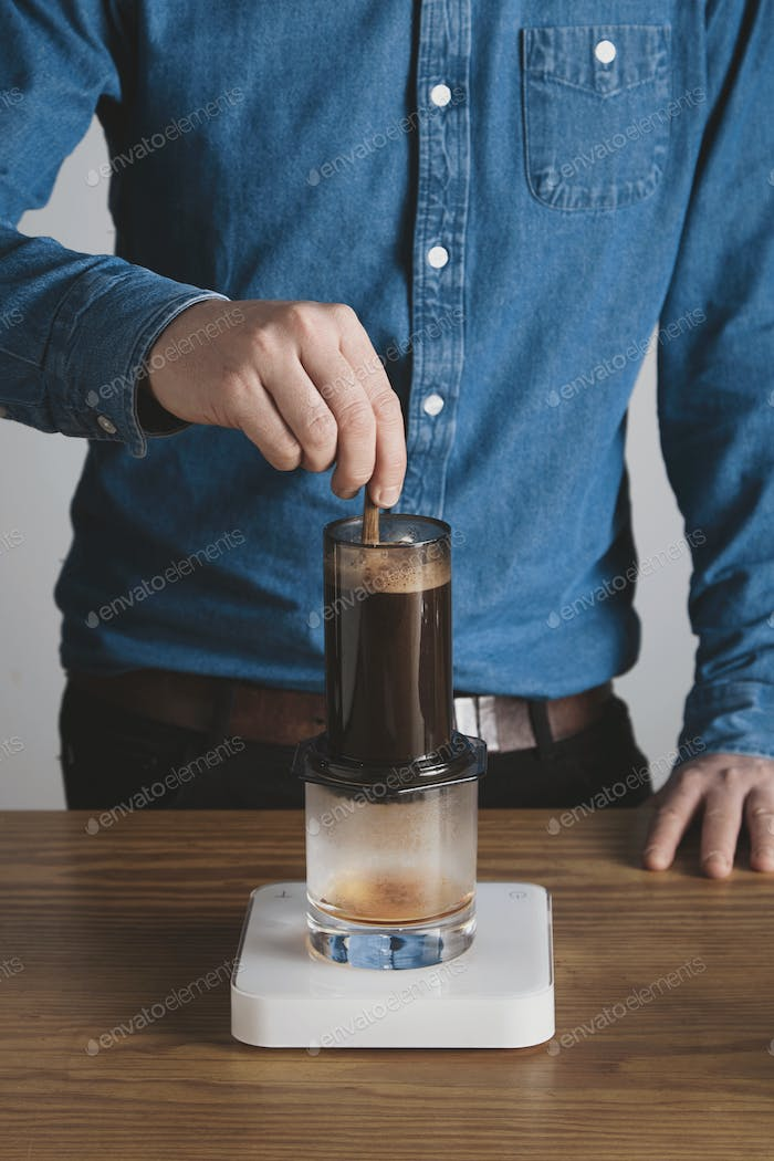 Barista twist wooden spoon in aeropress