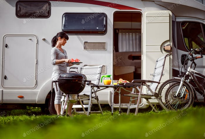 Family vacation travel RV, holiday trip in motorhome, Caravan ca
