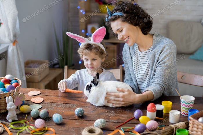 Family Playing with Easter Bunny