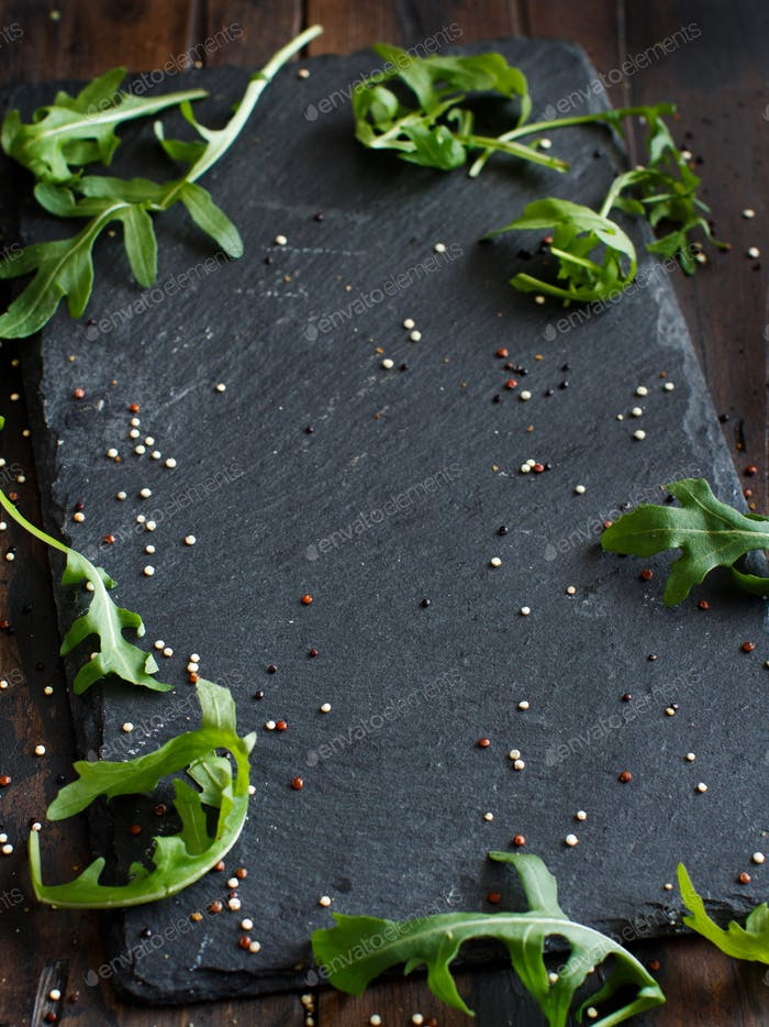 Background with arugula