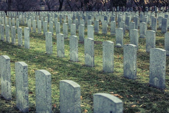 Zurück des Armee-Grabstein und Friedhof während eines traurigen Tages o