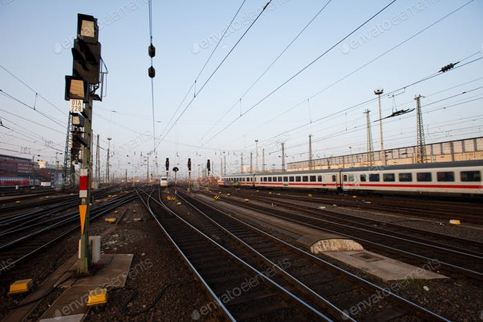 Signal in a German rail yard