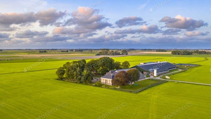 Vista aérea Open Farmland Países Bajos
