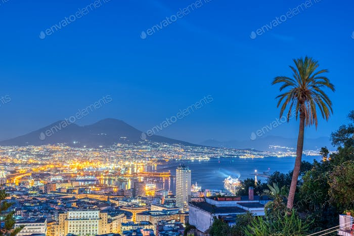 Naples in Italy with Mount Vesuvius