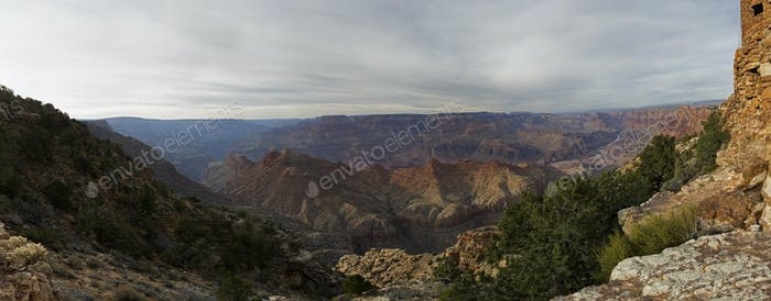 Grand Canyon panorama at the sunset with colorful cliffs, Colorado river, Arizona, USA