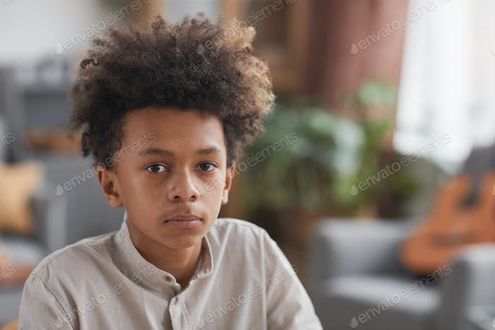 Portrait of Teenage African-American Boy at Home
