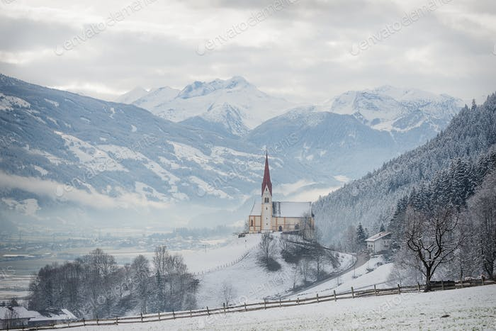 Church in Zillertal valley in the snow