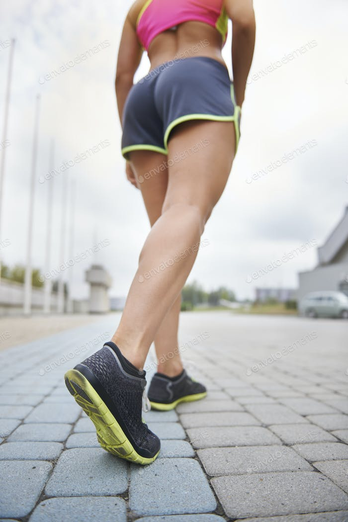 Human legs before a hard training